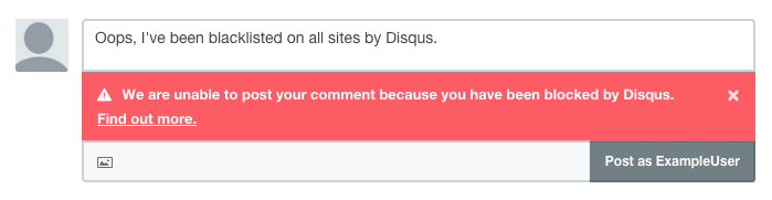 Message indicating user is banned by Disqus