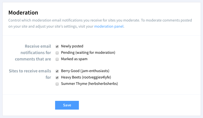 Moderation settings