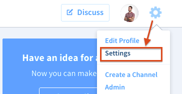 Edit profile drop down menu