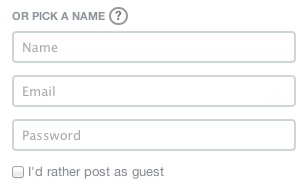 Screenshot of log-in area with guest commenting enabled