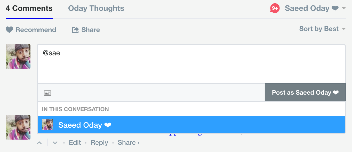 "Screenshot of @mentions dropdown searching for ""@v"""
