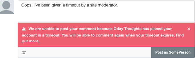 We are unable to post your comment because you've been put in timeout